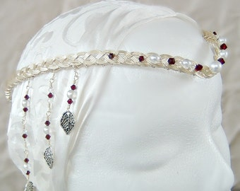 The Queen Guinevere Celtic Circlet Wedding Headdress Hair Chain Boho Wedding Tiara in  Custom Colors