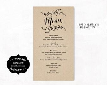 Rustic Wedding Menu, Printable Wedding Menu Template, Simple and Elegant Menu - Instant DOWNLOAD - Editable Text, MENU011, VW01