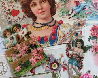 Ephemera Scrap Pack Vintage Victorian Die Cuts Postcards Pretty Lot