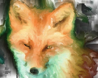 ACEO ATC - Digital Oil Painting - Foxy Girl - Art by ruby