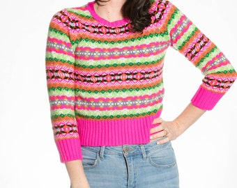 very bright 90s multicolor sweater