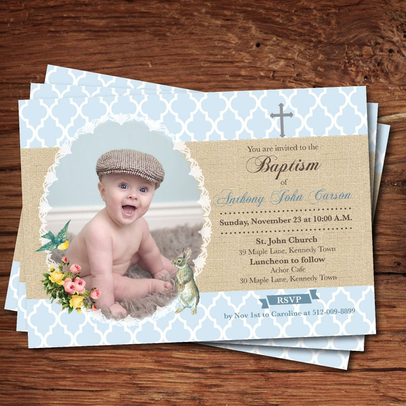 Baby boy baptism invitation. Boho shabby and chic. Burlap