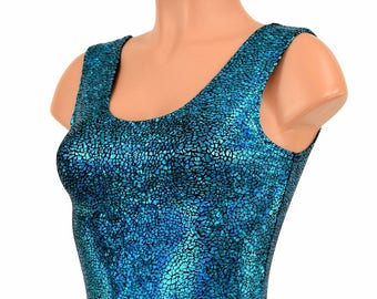 Turquoise on Black Shattered Glass Holographic Lycra Spandex Bodycon Clubwear Crop Top with Scoop Neckline - 150169