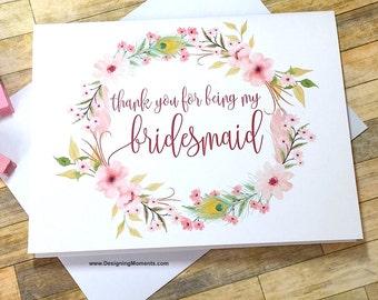 Bridesmaid Thank You Card - Boho Wreath Thank You For Being My Bridesmaid - Pink Wedding Thank You - Wedding Card - Bridesmaid - BOHEMIAN