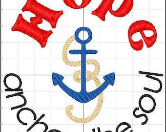 Hope Anchors the Soul 5x7 Embroidery Design