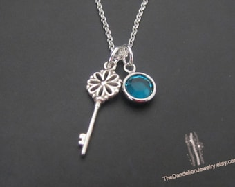 Flower Key Necklace with custom Birthstone, Sterling Silver Necklace, Charm Necklace, Jewelry, Gift
