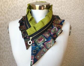 Women's bib necklace - silk collar necklace, fashion gift, styling accessory, zipper collar necklace, women's fashion (+gift box) #225