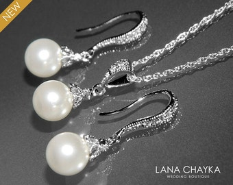 White Pearl Earrings and Necklace Set STERLING SILVER Cz White Drop Pearl Set Swarovski 8mm Pearl Necklace&Earring Set Small Pearl Set