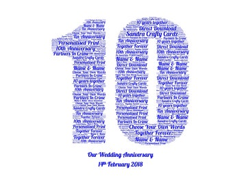 10th Anniversary, Word Art Print, 10 Year Anniversary, 10 Wonderful Years Together, Personalised Gift, Our Anniversary