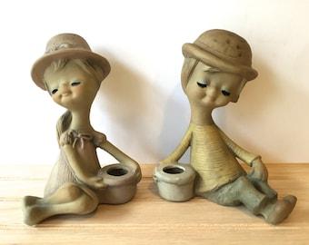 Vintage 60's Candle holders set ~Big eyed Girl & Boy ~Ceramic candle holder ~ Mod picnic