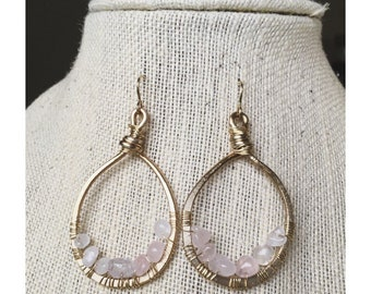 Winona Hoop Drops — hand twisted and hammered wires, wrapped rose quartz brass ear wires, boho OOAK made from scratch nashville gypsy spring