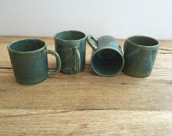 Handmade green ceramic mug. Coffee mug, hot chocolate mug, tea mug.