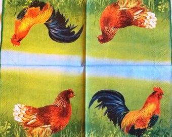 TOWEL in paper roosters and hens #AN054