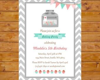 Cupcake Birthday Invitation - Baking Party Invitation - Girl Birthday Party - Printable, Custom, Digital File