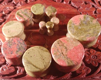Pair of Unakite Plugs / Gauges For Stretched Ears (25mm, 22mm, 19mm, 16mm, 14mm, 12mm, 10mm, 8mm, 6mm, 5mm, 4mm)