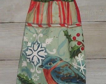 Mountain Blue Bird Holly Berries Branch Snowflake Holly Berries Plastic Grocery Bag Rag Sock Holder Organizer Original Handmade by HCF&D