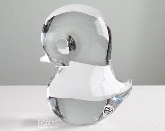 FM Konstglas Ronneby Sweden Pippi Glass Bird Paperweight