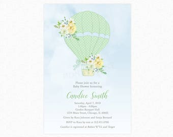 Hot Air Balloon Baby Shower Invitation, Green Balloon, Gender Neutral Baby Shower Invitations, Personalized, Printable or Printed
