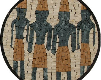 "Phoenician Round Motif Museum 12"" Art Marble Mosaic FG1120"