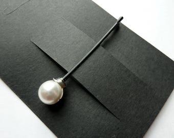 10mm White Swarovski Pearl Bobby Pins - Set of 3