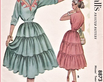 Vintage Sewing Pattern Reproduction - 1950s 50s Two-Piece Patio Dress Set - Multiple Sizes Bust 30 32 34 36 38 - INSTANT DOWNLOAD