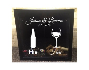 "His & Hers, Beer Bottle and Wine Glass with Custom Wedding Names and Date - Beer Cap and Wine Cork Holder - Shadow Box (12"" x 12"")"