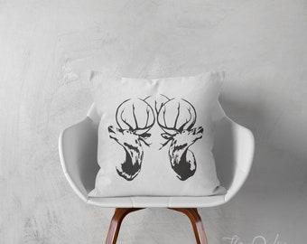 deer antlers pillow covers woodland nursery decor throw pillows stag head cushion cover farmhouse pillow rustic home decor cabin decor