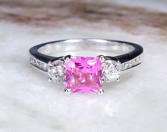 18K White Gold UGL 1.06ct Square Pink Sapphire & Diamond Accents Engagement Ring