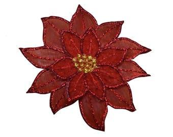 Poinsettia Christmas Flower Applique Patch (Iron on)