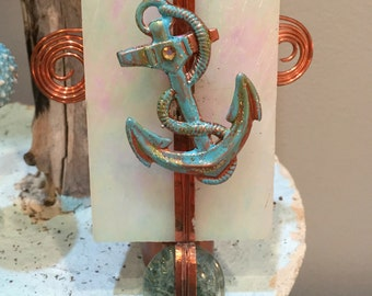 Anchor Night Light, Nautical Decor, Glass, Copper, Beachy, Guy Gift, Father's Day