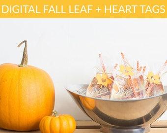 Digital Fall + Leaf Heart Tags
