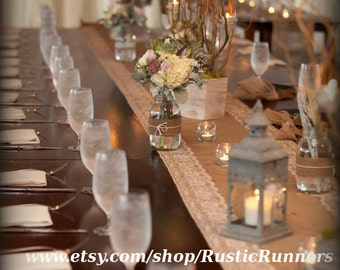 Rustic Wedding Burlap and Natural color Lace Table Runner size