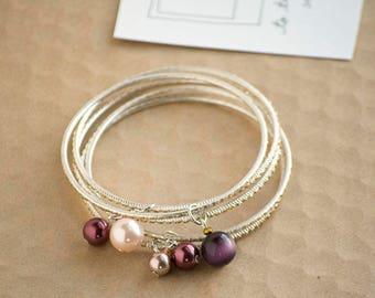 Burgundy Silver Bead Charms Bangle Bracelet Set | Stackable Bracelet | Mix and Match Bracelet | Delicate Bracelet | Elegant Bracelet
