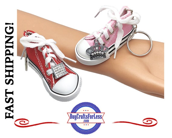 Canvas SNEAKER KeY RiNG with RHiNESTONE Charm, choose from 9 Colors of Key Ring,  +1.99 Shipping & Tracking,Discounts*