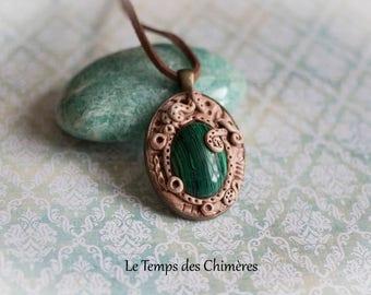 Pendant oval malachite stone polymer clay