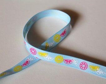 Ribbon grosgrain Ribbon - summer sunshine citrus - 10mm sewing Scrapbooking Cardmaking.