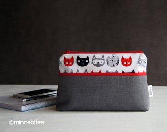 Chat amoureux aumônière porte monnaie - petit sac à main à la main - téléphone rouge gris pochette - trousse à maquillage voyage - cadeau pour ADO - chat sac à main - prêt à l'expédition