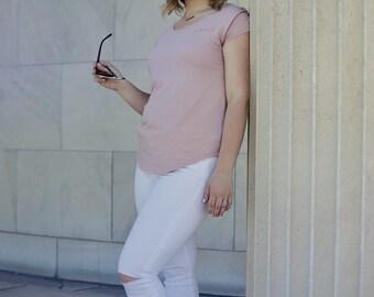 MAMA Blush & Copper /// Modern Minimalist Women's Tunic style shirt (short sleeve)