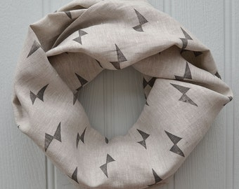 Lightning bolt block printed infinity loop linen scarf