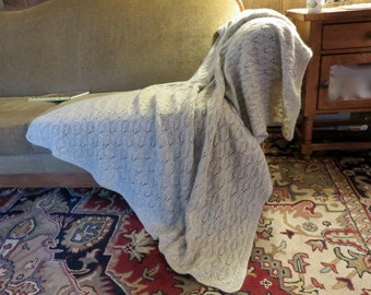 Hand Knit Mohair/ Wool  Blanket / Afghan / Throw - Texture Knit - Free Shipping in US