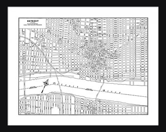 Detroit Vintage Map - Detroit - White - Print - Poster