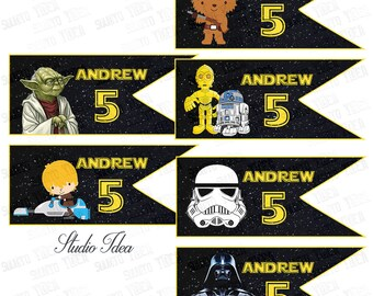 Star Wars Personalized Printable Flag Style Printable Toppers- Custom Star Wars characters DIY Tags-Cupcake Toppers- YOU PRINT