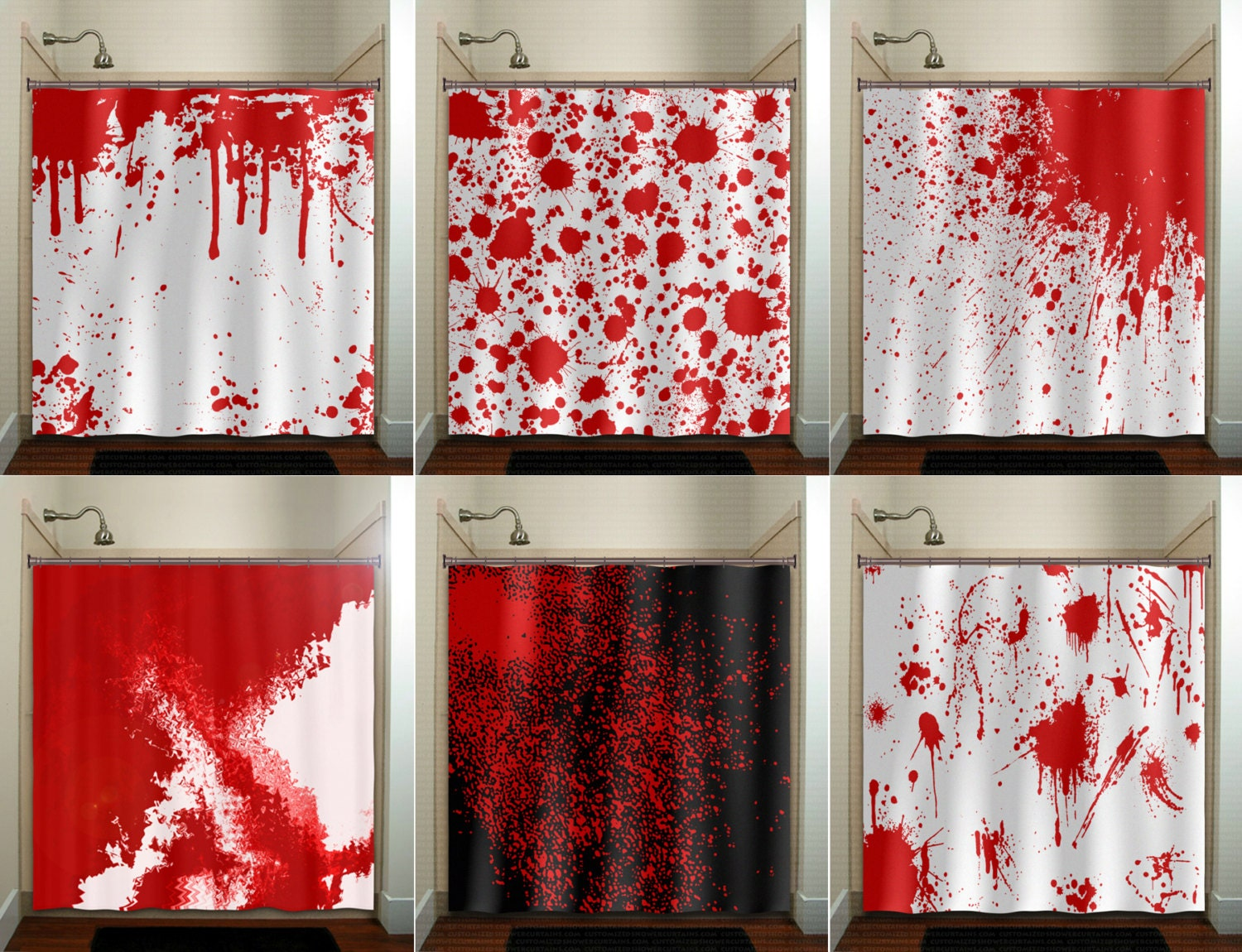 Blood Splatter Shower Curtain Fabric Extra Long Window Panel