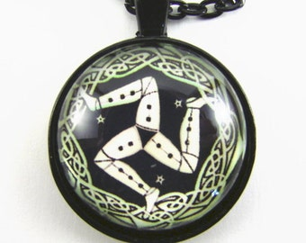 Men's MANX MAN TRISKELE Necklace -- Celtic design three-legged symbol Isle of Man, Unity of nature, Gift for a runner or athlete