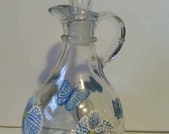 Hand Painted Glass Pitcher, White and Blue Orchids, Butterflies