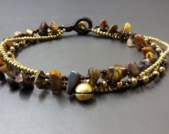 Tiger Eye  Brass Chain Anklet