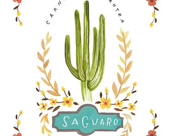 Saguaro Cactus Print, Saguaro Print, Cactus Illustration, Cactus Print, Cactus Fine Art Print