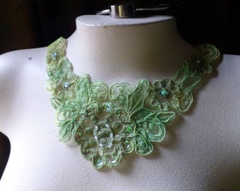 GREEN Beaded Lace Applique for Lyrical Dance, Ballet, Costumes, Garments CA 38