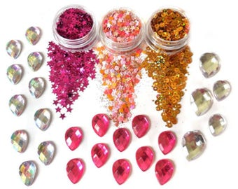 Pink Paradise Glitter And Face Jewels Gemstones Set For Face & Body | Festival And Party | Beauty Makeup Accessories Holiday Birthday MUA|
