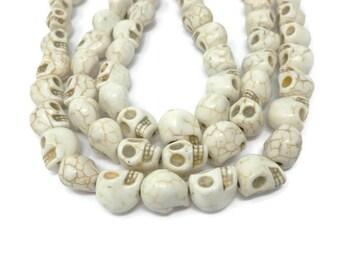 Bone White Howlite - Large Skull - 15mm x 14mm x 12mm - 27 or 14 beads - Whole or Half Strand -  White Turquoise - Skulls - Ivory Cream